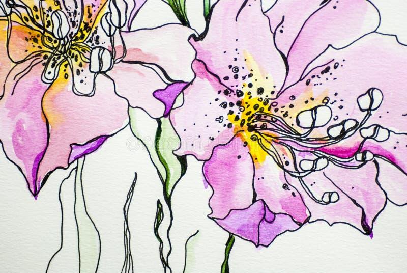 Dell'acquerello del fiore tiraggio isolato bianco della pittura di acrilici del fondo della foglia di verde di struttura di color illustrazione di stock