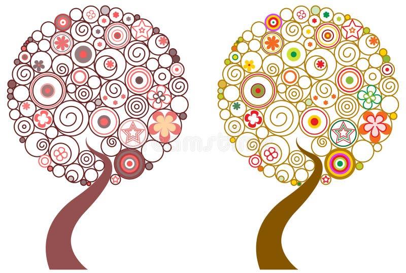 Dell'estratto albero swirly illustrazione di stock