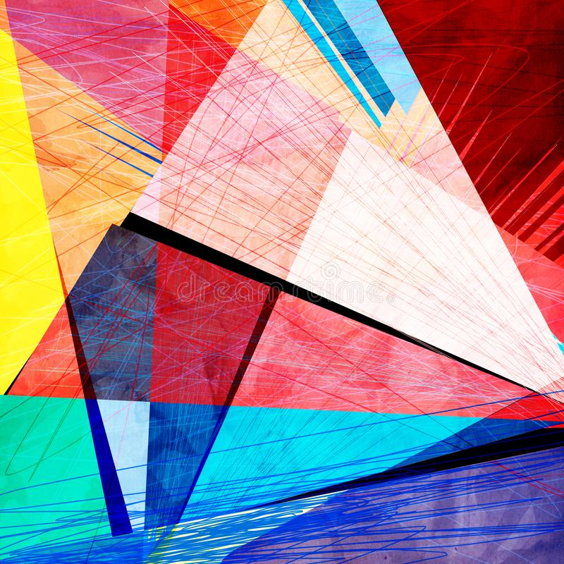 Dell'estratto la geometria multicolore dell'ornamento di forma dell'acquerello brillantemente illustrazione vettoriale