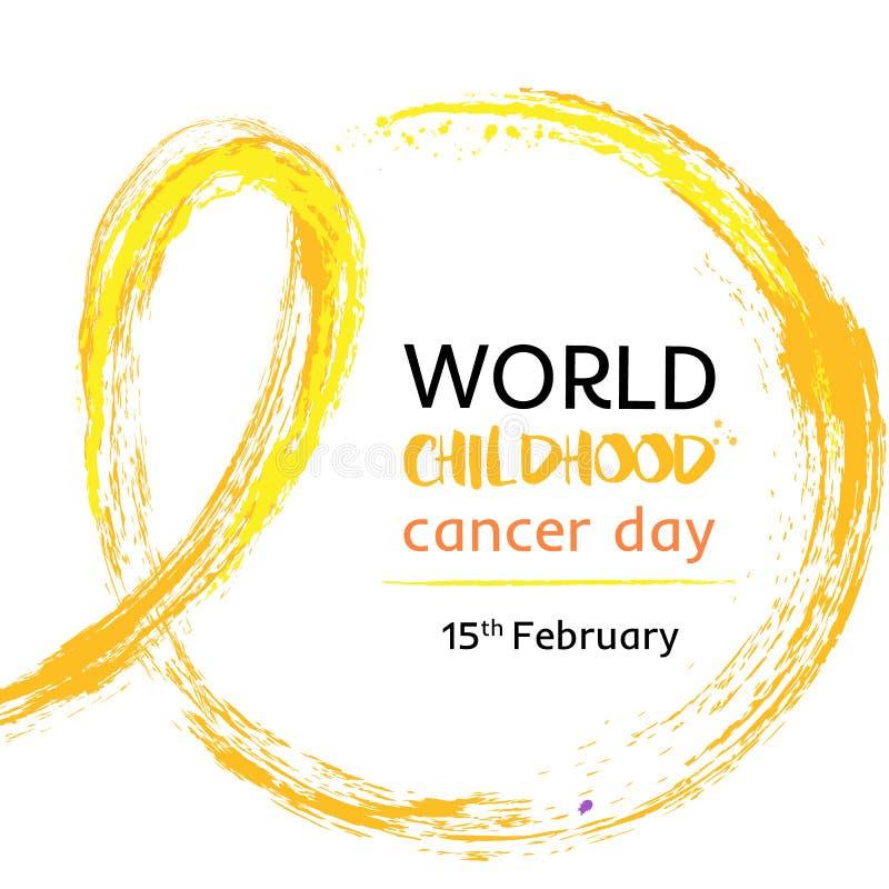 15 dell'illustrazione di vettore di giorno del Cancro di infanzia del mondo di febbraio Nastro per i malati di cancro di giorno d illustrazione di stock