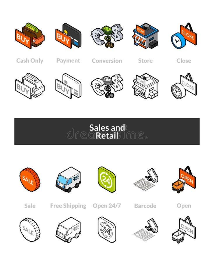 Dell'insieme delle icone isometriche nelle versioni colorata e nera di stile di otline, illustrazione di stock