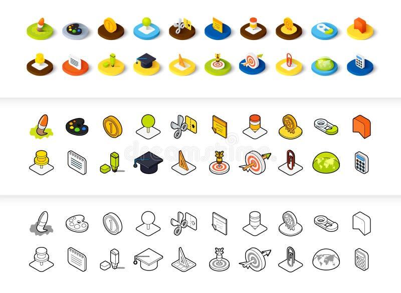 Dell'insieme delle icone nello stile differente - versioni colorata e nera isometriche del piano e di otline, illustrazione vettoriale