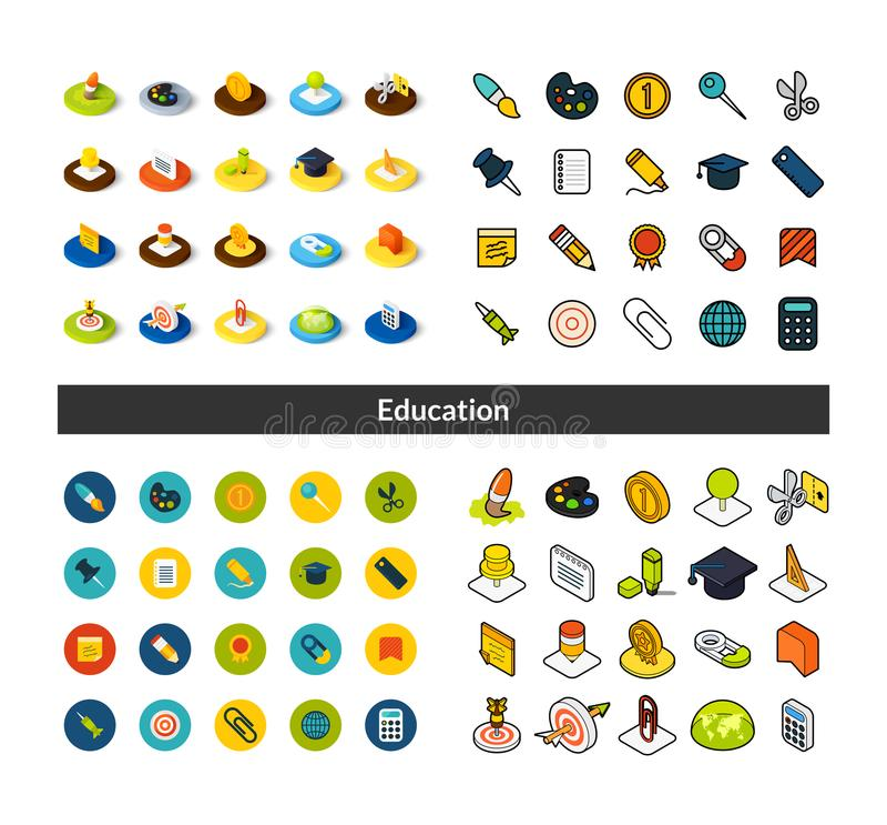 Dell'insieme delle icone nello stile differente - versioni colorata e nera isometriche del piano e di otline, royalty illustrazione gratis