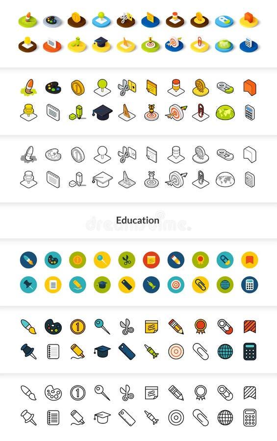 Dell'insieme delle icone nello stile differente - versioni colorata e nera isometriche del piano e di otline, illustrazione di stock