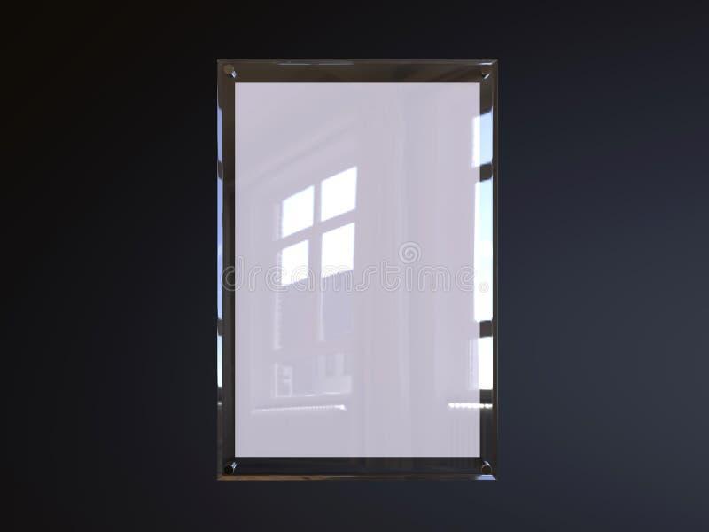 Dell'interno scelga la pagina acrilica parteggiata del manifesto dell'esposizione fissata al muro per annunciare illustrazione di stock
