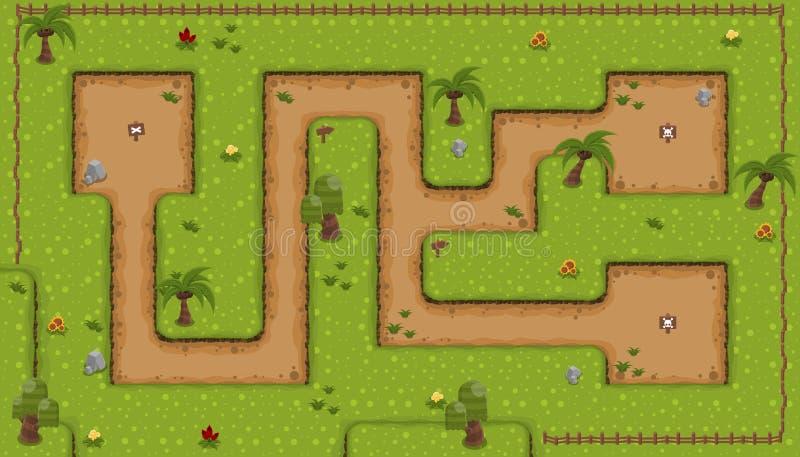 Dell'isola il gioco Tileset giù illustrazione di stock
