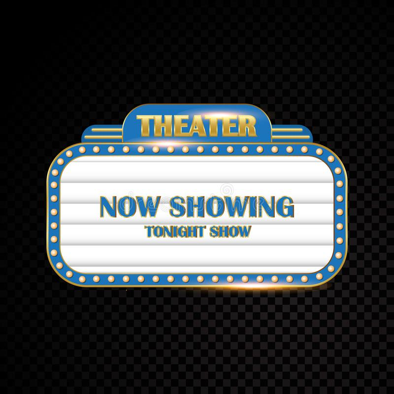 Dell'oro insegna al neon retro d'ardore del cinema del teatro brillantemente illustrazione di stock