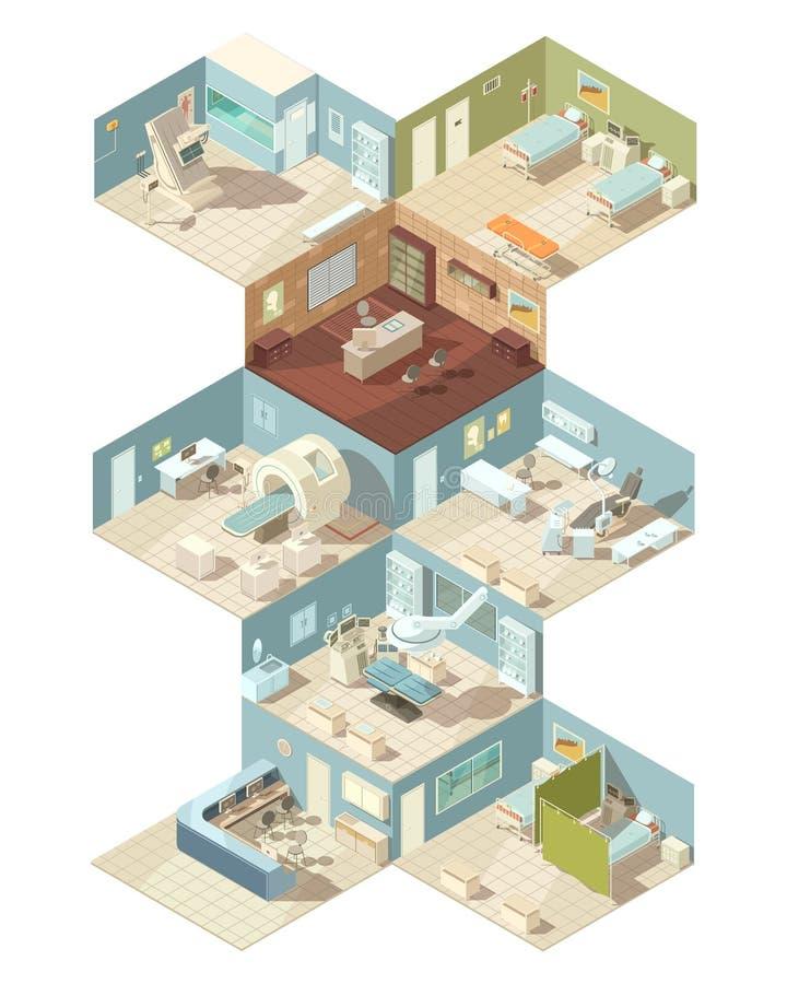 Dell'ospedale concetto di progetto isometrico all'interno illustrazione di stock