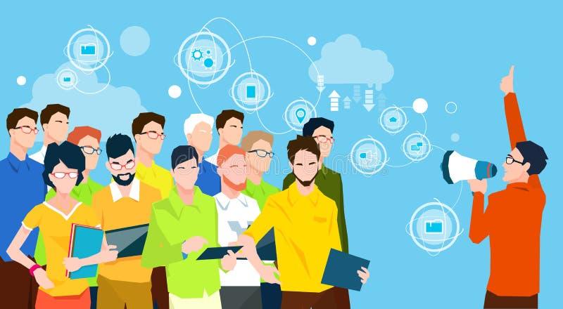 Dell'uomo d'affari del capo di Hold Megaphone Loudspeaker di Team Leader Group Businesspeople dei colleghi gente di affari illustrazione di stock