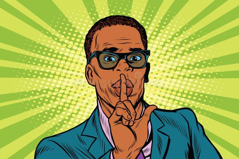 Dell'uomo d'affari di gesto silenzio zitto illustrazione vettoriale
