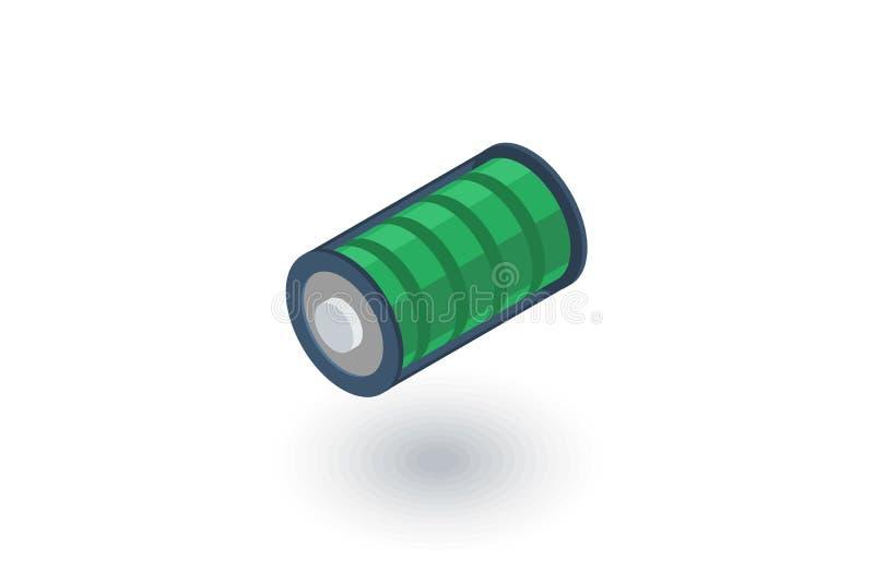 Della carica della batteria icona piana isometrica in pieno vettore 3d illustrazione di stock