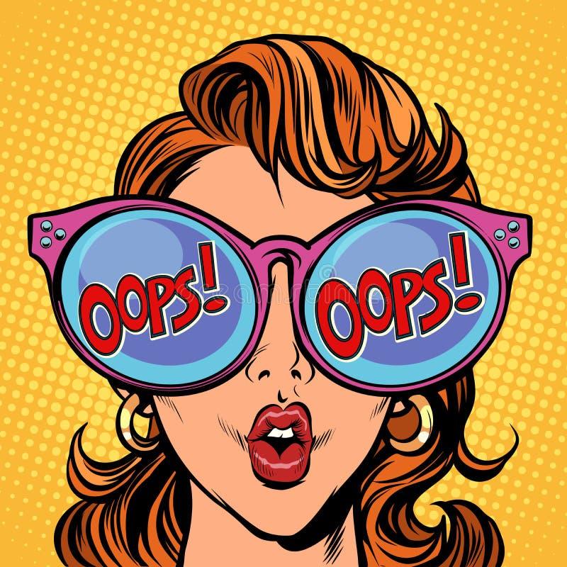 Della donna Pop art oops illustrazione di stock
