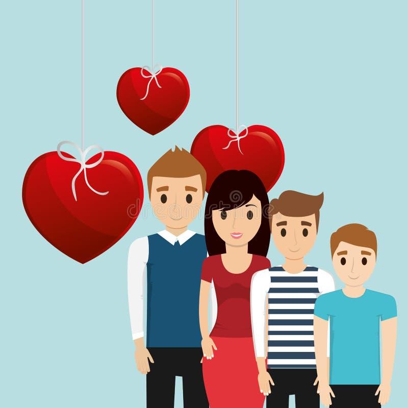 Della famiglia del manifesto decorazione adorabile del cuore insieme illustrazione vettoriale