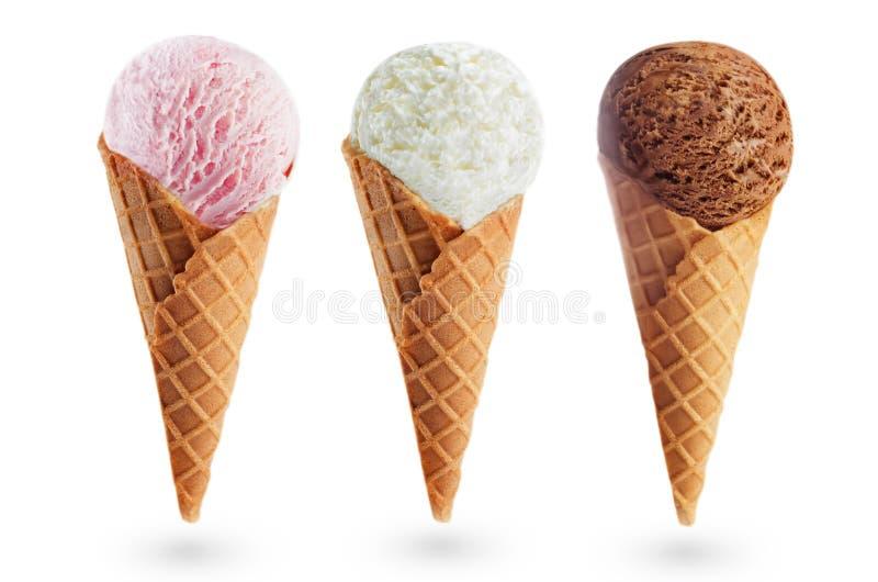 Della fragola, della vaniglia e del cioccolato gelato isolato immagini stock