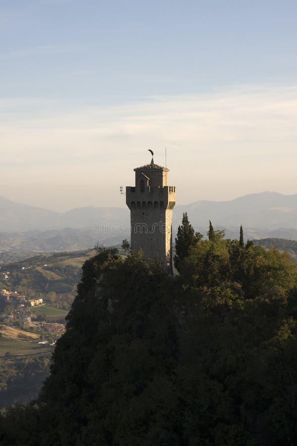 Della Guaita, castello di Rocca nella repubblica di San Marino immagini stock