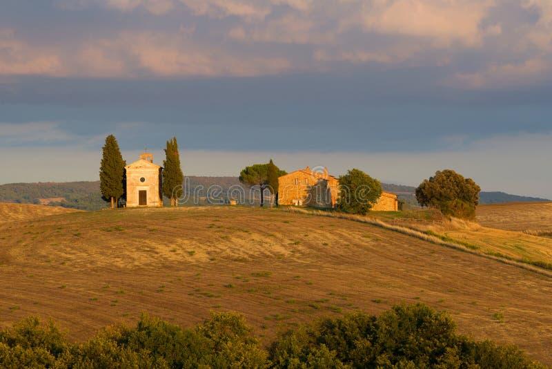 Della Madonna di Vitaleta que nivela setembro, Itália da capela fotos de stock royalty free