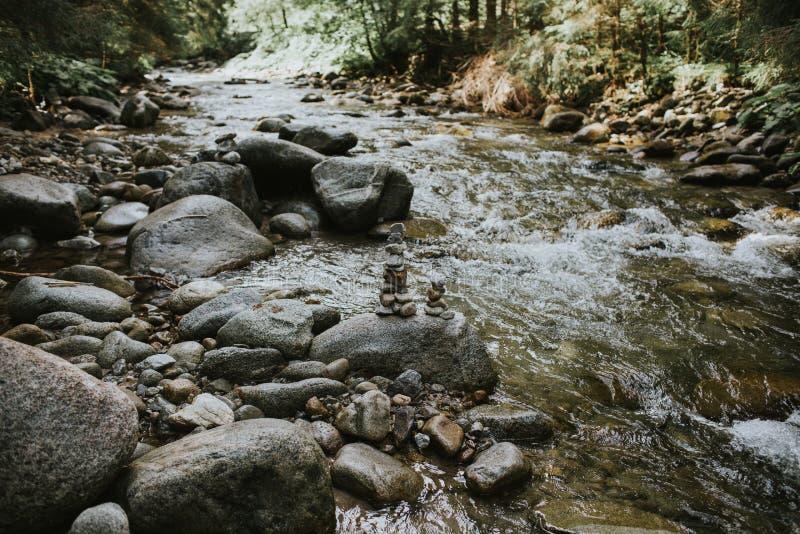 Della montagna del fiume di flussi rocce comunque immagine stock