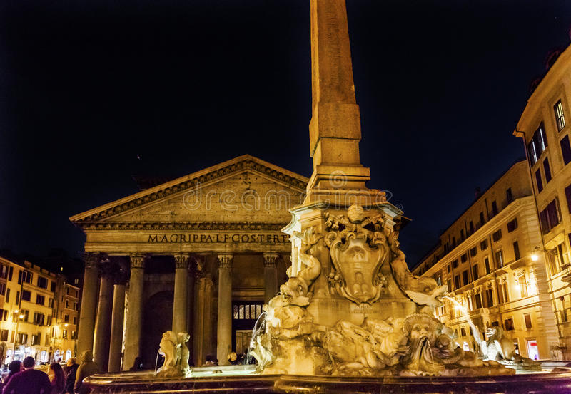 Della Porta Fountain Pantheon Piazza Rotunda Night Rome Italy stock image