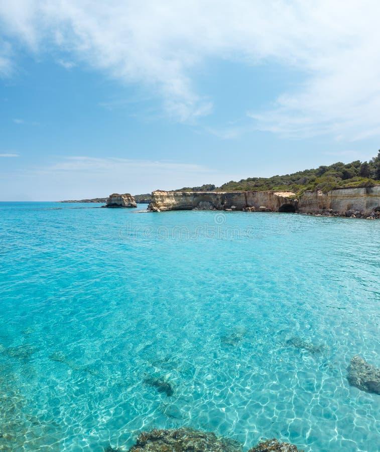 Della Punticeddha, Salento, Italia de Spiaggia de la playa del mar imagen de archivo libre de regalías