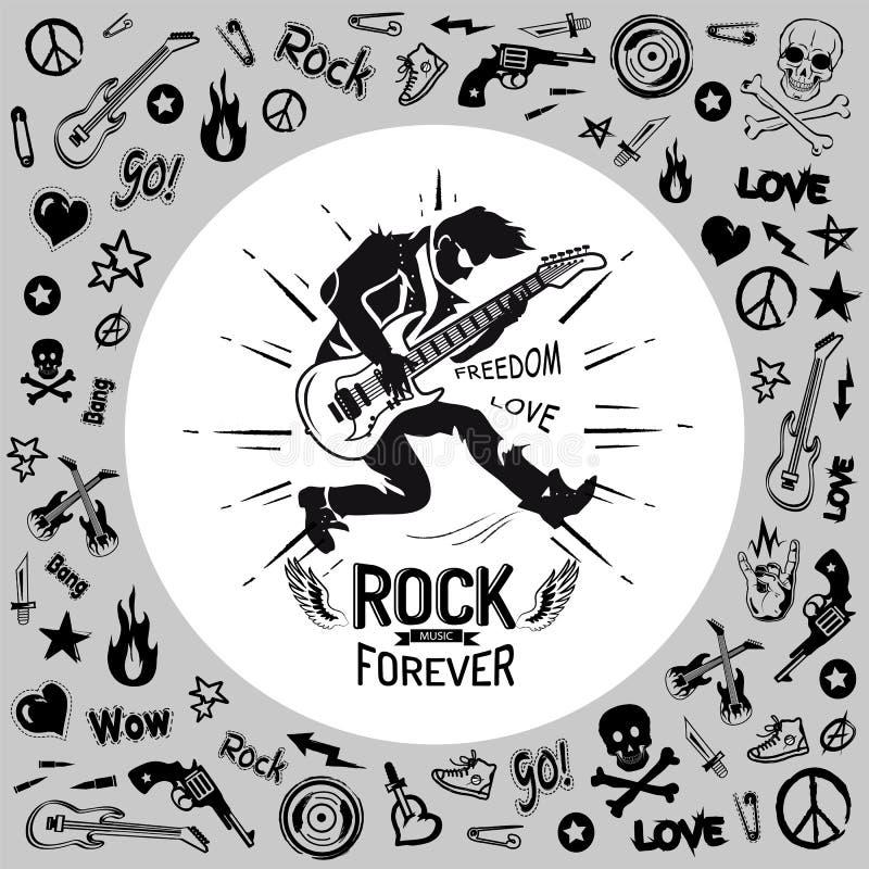 Della roccia chitarrista Vector Illustration della persona per sempre royalty illustrazione gratis