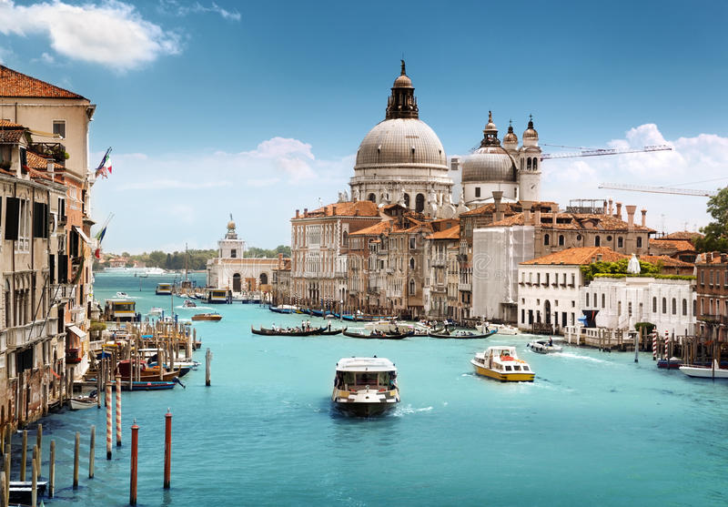 Della Santa Maria грандиозного канала и базилики салютует, Венеция стоковая фотография rf