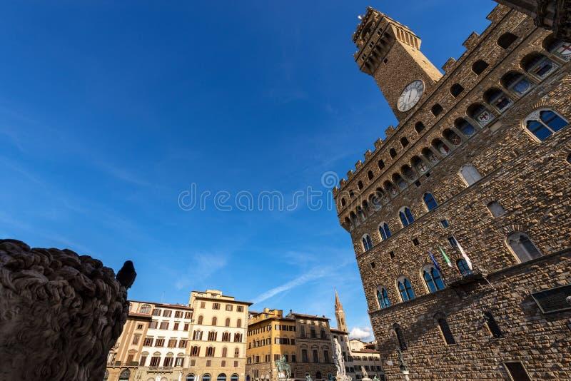Della Signoria - Palazzo Vecchio Florença Italia da praça fotos de stock