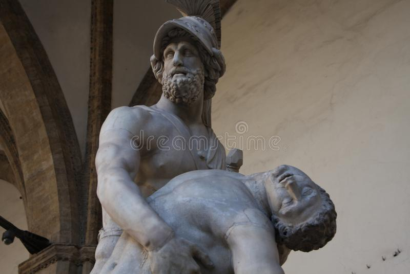 Della Signoria della piazza a Firenze - repliche della statua di Muzeum famoso su questa piazza pubblica immagini stock