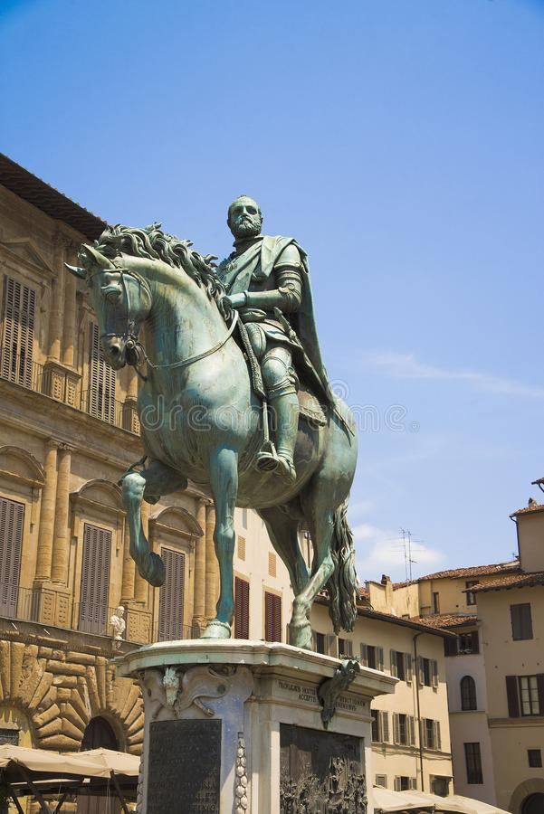 Della Signoria, un monumento della piazza a Cosimo de Medici a Firenze, Italia immagine stock libera da diritti