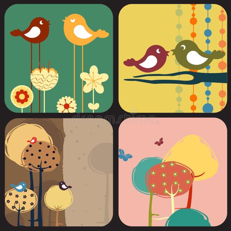 Delle cartoline d'auguri di disegno di stile royalty illustrazione gratis