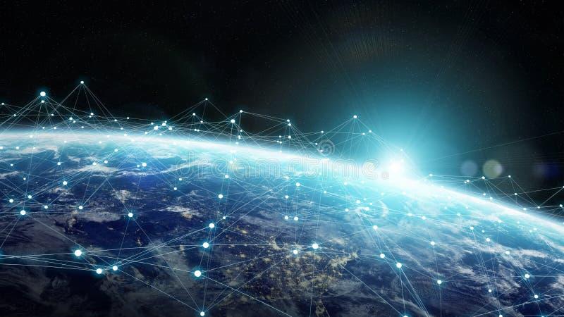 Dello scambio dei dati e rete globale sopra la rappresentazione del mondo 3D illustrazione di stock