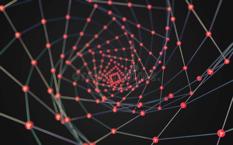 Dello spazio poli fondo scuro poligonale astratto in basso immagini stock