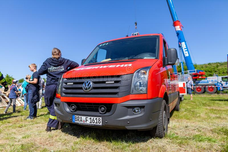 German fire engine from fire department. Delmenhorst / Germany - MAY 6, 2018: German fire engine from fire department Lemwerder stands on a deployment site. The stock photos