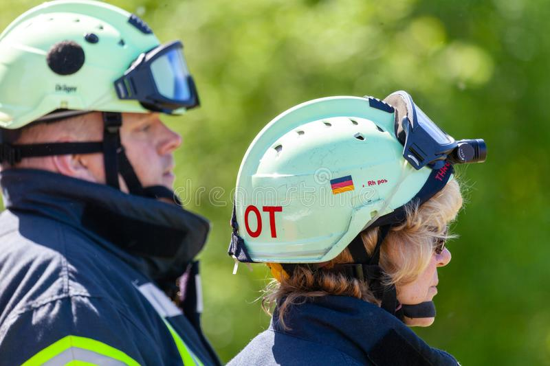 Two german firefighters royalty free stock photography
