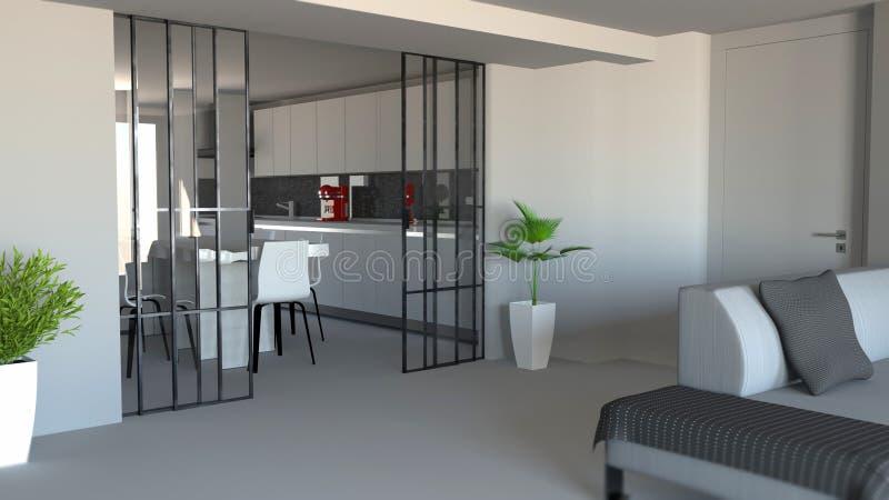 Delning för glidningsdörr, vardagsrum- och kök, modern lägenhetingång, industriell stil vektor illustrationer
