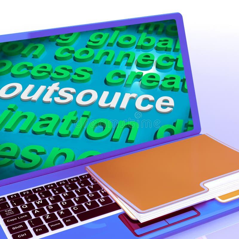 Delocalizzi il subappalto di manifestazioni del computer portatile della nuvola di parola e Freelance illustrazione di stock