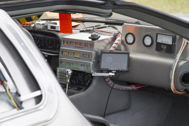 DeLorean DMC-12 Back to the Future Car Model Interior stock image