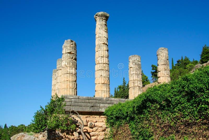 Delphi, Grécia: Colunata do templo de Apollo com Delphi Oracle, centro da cultura grega imagens de stock royalty free
