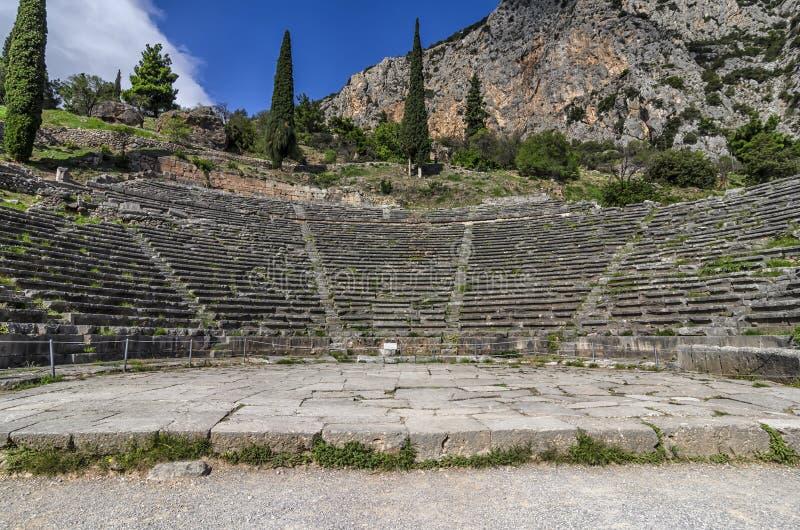 Delphi, Griekenland Het oude theater van Delphi in de archeologische plaats van Delphi stock afbeelding