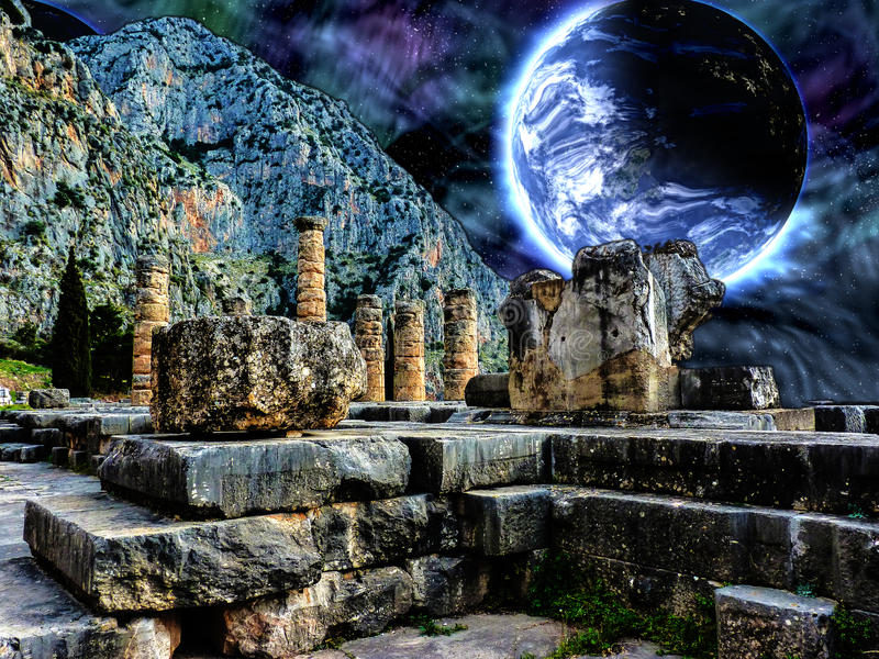 Delphi Illustration with a Blue planet in space stock images