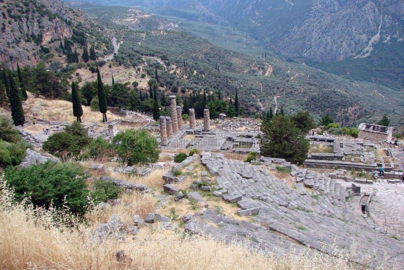Delphi miasteczko Grecja 06 17 2014 Ruiny starożytny grek architektura blisko miasteczka Delphi w południe Grecja obrazy stock