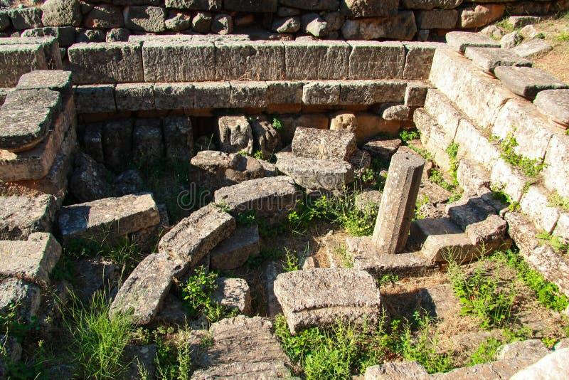 Delphi, ruiny sanktuarium Archeologiczny miejsce na górze Parnassus Grecja, UNESCO obraz stock
