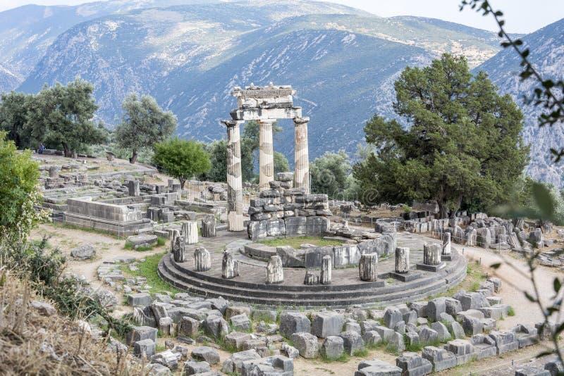 Delphi Tholos en omgeving, Delphi Greece stock afbeelding