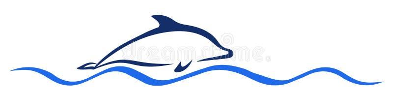 Delphin auf der Welle - Vektor lizenzfreie abbildung