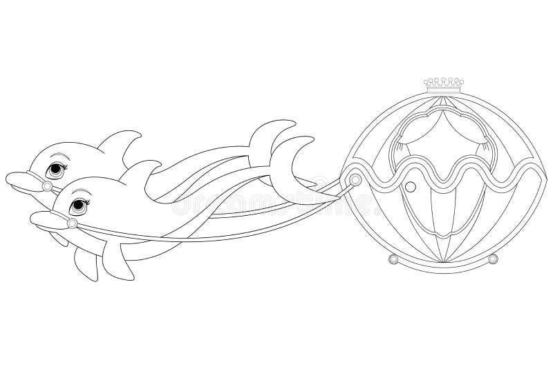 Delphin-Wagen-Malbuch-Seite Vektor Abbildung - Illustration von ...