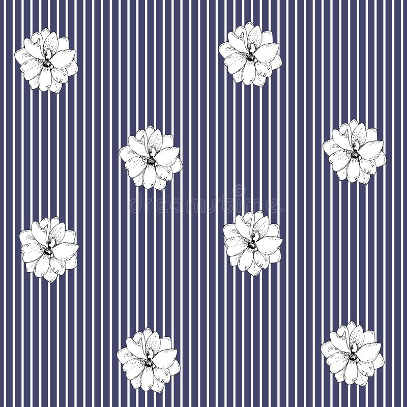 Delphinium flowers on striped background. Seamless floral pattern in vector. Scandinavian style royalty free illustration