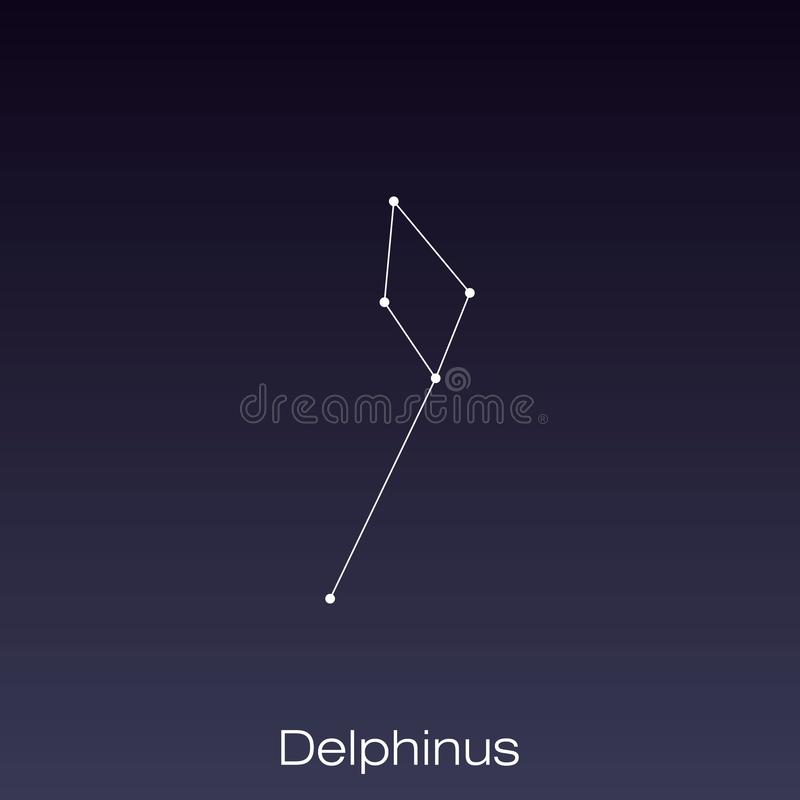 Constellation as it can be seen by the naked eye. Delphinus constellation as it can be seen by the naked eye vector illustration