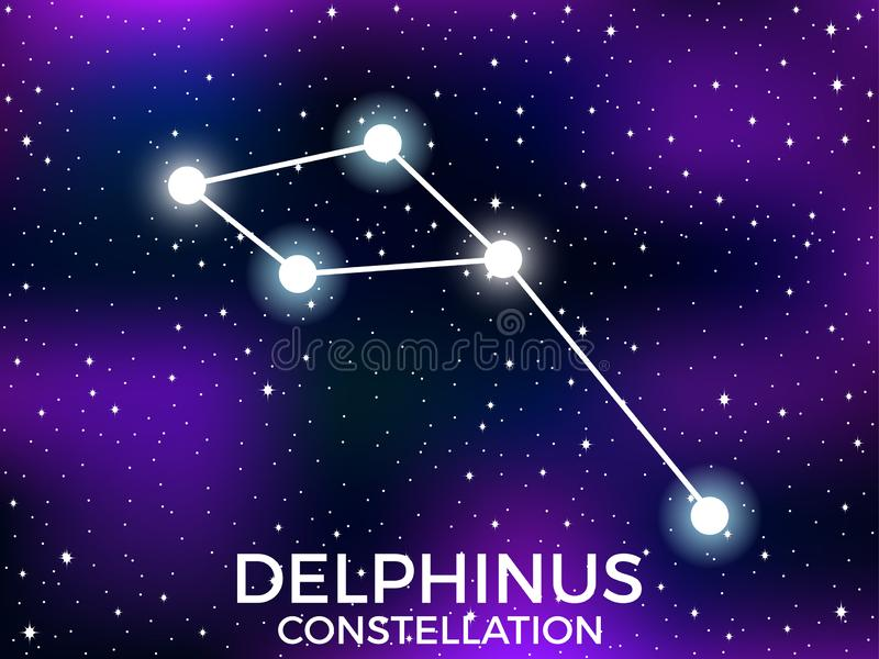 Delphinus constellation. Starry night sky. Cluster of stars and galaxies. Deep space. Vector. Illustration stock illustration