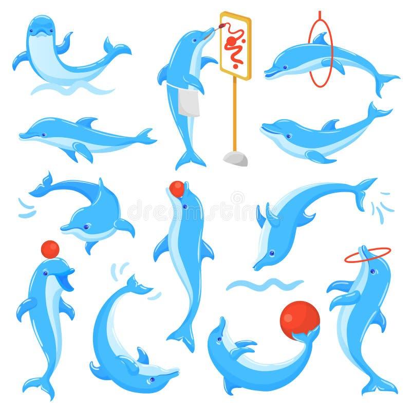 Delphinvektorfisch-Charakterzeichnung oder Dolphinfish, die herein unterseeischen Illustration sealife Satz blaue Fische spielen lizenzfreie abbildung