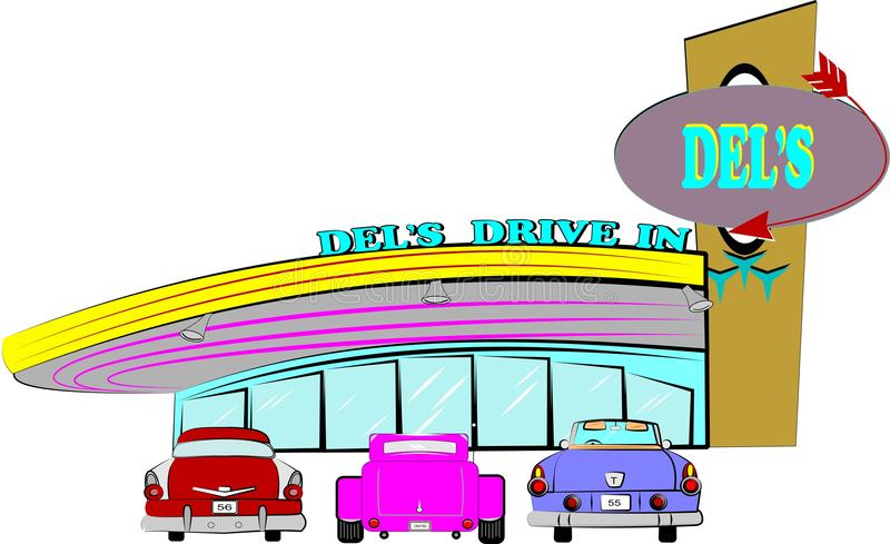 Dels diner. Diner from the fifties sixties with cars parked in front waiting service over white vector illustration