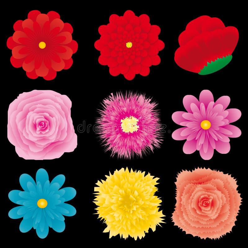 delset för 4 blomma stock illustrationer